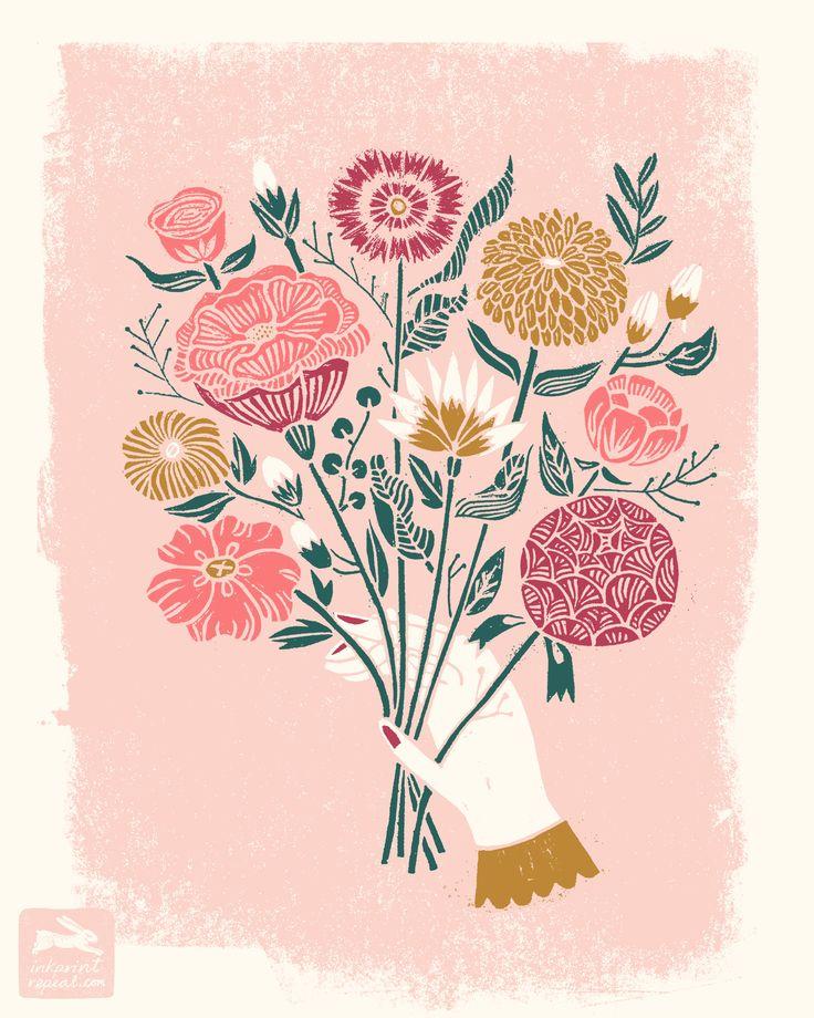 linocut, illustration, bouquet, linocut illustration, printmaking, printmaker, andrea lauren,