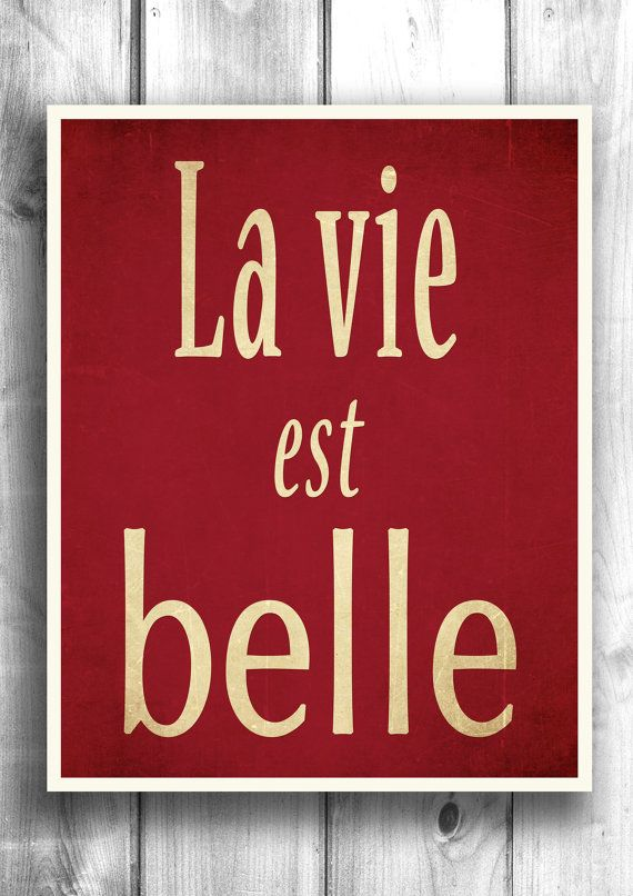 Typographic poster, Quote print, Wall decor, inspirational art, Life Is Beautiful quote, French Wall Art - 11x14 - Typography $22