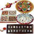 Make this Rakhi celebration as the subject of joy for everlasting for your brother by sending this Homemade Chocolate, Mixed Dry Fruits 250gm, Haldiram Badam Barfi 250gm, Shree Thali, Stone Rakhi and a free Rakhiand Roli Tika and Chawal.