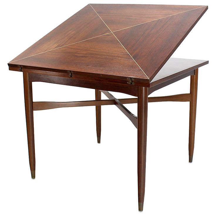 Walnut-Top with Brass Inlay, Mid-Century Modern Expandable Game Table | From a unique collection of antique and modern game tables at https://www.1stdibs.com/furniture/tables/game-tables/