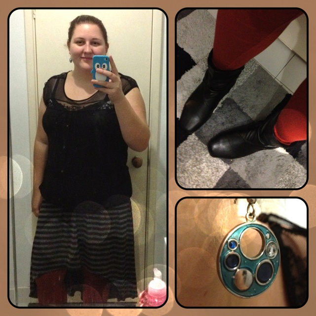 What I'm Wearing | Thursday July 12th 2012 • Shirt - Best & Less • Skirt - Big W • Leggings - Asos • Boots - Kmart • Earrings - Diva