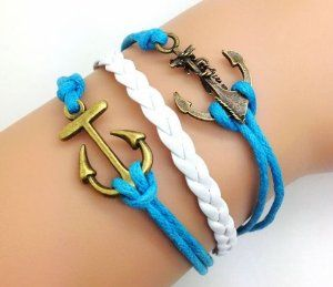 Bronze Double Anchor Bracelet Blue Rope and White Braided Personalized Friendship Gift 2207r Retro Bracelet. $14.50