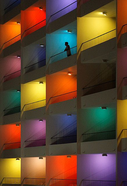 Color block balconies.