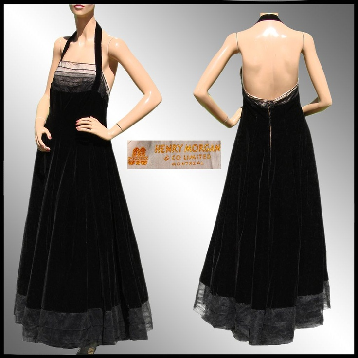 Vintage Men's Suits 1940S | Vintage 40s Black Velvet Evening Gown // 1940s Halter Style Dress from ...
