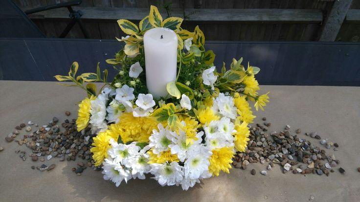 Bright wedding flower arrangement by thehappylittlejar on Etsy