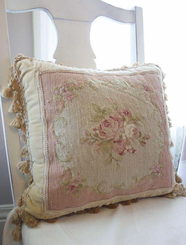 bellas rose cottage lovely old needlepoint pillow. Black Bedroom Furniture Sets. Home Design Ideas