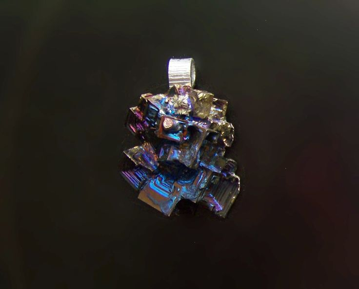 Bismuth Metal Crystal Iridescent Peacock Rainbow, Pendant with a Silver Tone Snake Chain, Bismuth Pendant Jewelry by deleas on Etsy