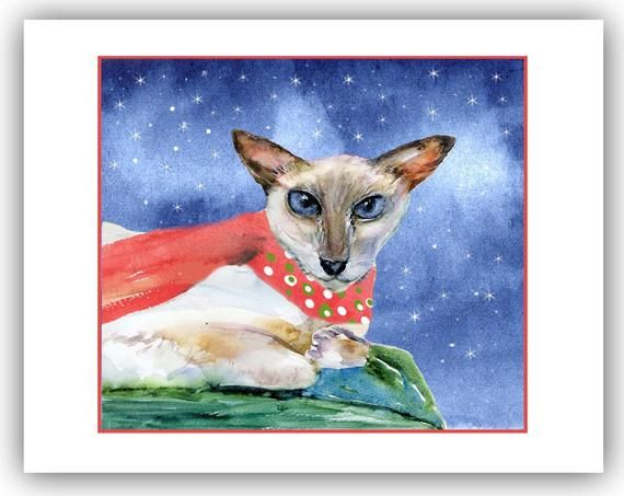 Siamese cat christmas cards - white siamese holiday cards- meezer