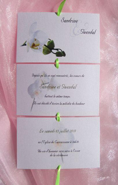 Le faire-part de mariage dépliant rectangle sur le thème des orchidées blanches vert anis, est personnalisable    ( choix du texte, choix de la police,choix de la couleur du ruban...)        Possibilité de réaliser gratuitement 2 maquettes, une pour les invités au vin d'honneur, une autre pour les invités au vin d'honneur et au repas   Les étiquettes à dragées sont offertes pour toute commande de faire part  http://www.lemondedegaya.fr/site/format_dep_rect.php