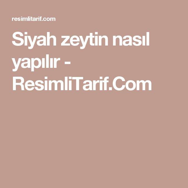 Siyah zeytin nasıl yapılır - ResimliTarif.Com