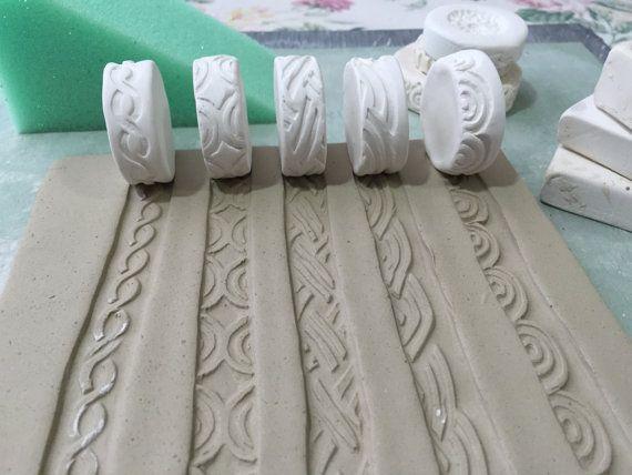 Boucles celtiques défilement thème cachet Clay Roller Set de cinq outil de poterie en biscuit de conception Unique frontière pour la décoration céramique et Texture