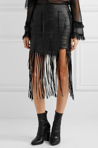 Magda Butrym - Norwich Fringed Woven Leather Mini Skirt - Black