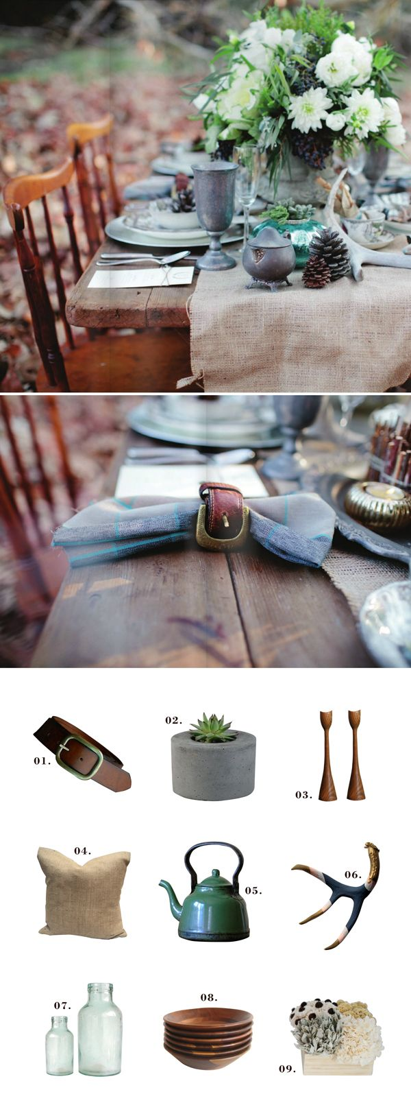 Belt napkin rings! Never been a napkin ring girl, but this entire rustic tabletop is perfect to me.