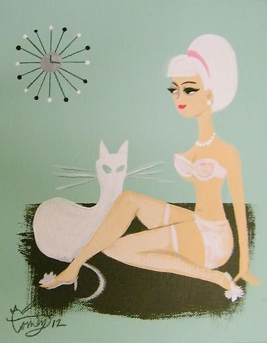 El Gato Gomez Painting Mid Century Modern Eames Retro Pin Up Girl Cat Lingerie | eBay