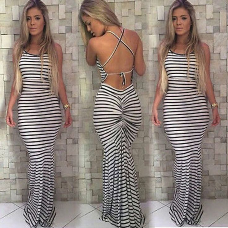 Summer Women Boho Striped Long Maxi Evening Party Dress Beach Dresses – Monika's Dresses
