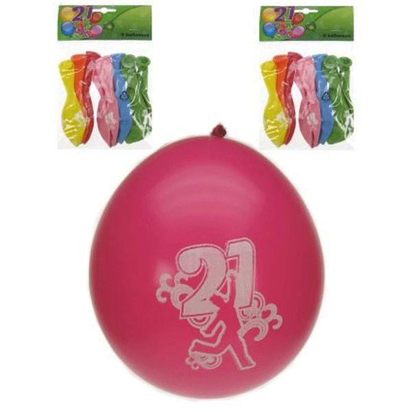 8 stuks gekleurde leeftijd ballonnen met opdruk, hoera 21 jaar. Formaat leeftijd ballonnen: 25 cm. Meer leeftijdsversiering voor een 21 jaar verjaardag kunt u ook in deze feestartikelen winkel bestellen.