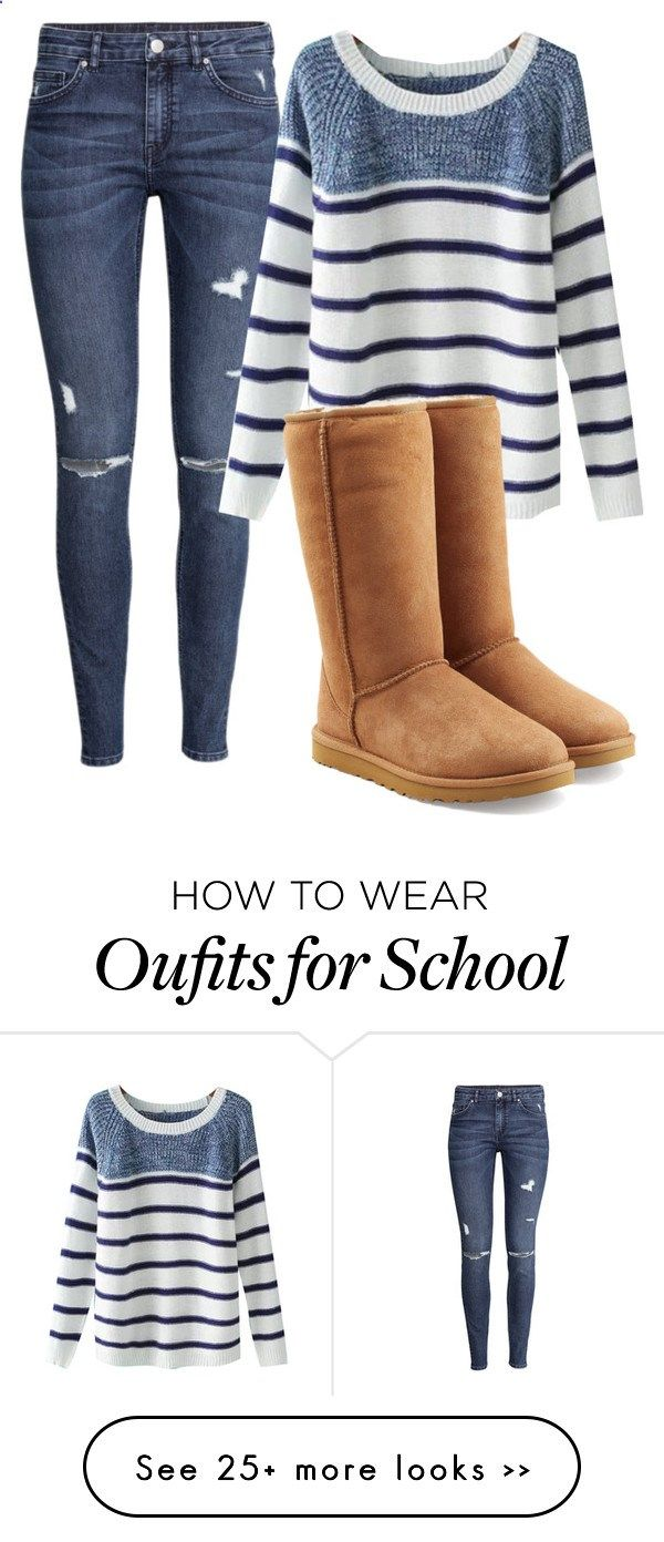 School by jazelle-aeronica on Polyvore featuring HM, Chicnova Fashion and UGG Australia