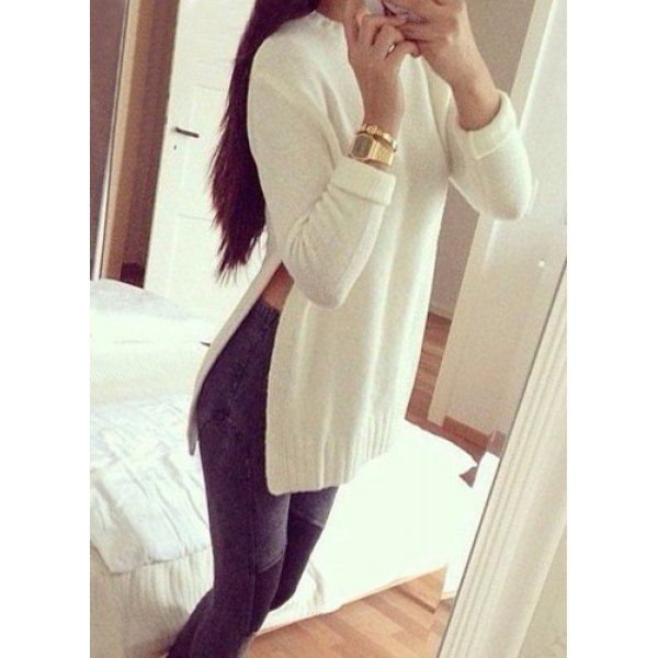 Wholesale Sweet Round Neck High Slit White Sweater For Women Only $7.41 Drop Shipping   TrendsGal.com