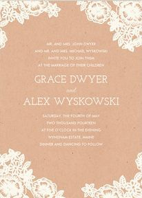 REVEL: Lace and Kraft Wedding Invitations--with navy blue background cardstock