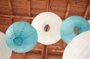 aqua and white paper lanterns