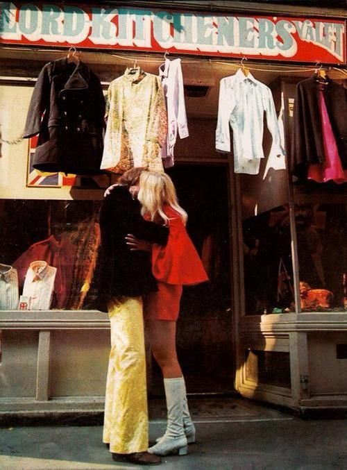 modrules: love in Carnaby Street outside cool shop of the time I Was Lord Kitcheners Valet, late 60's