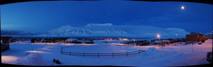 Longyearbyen in the blue polar night, Svalbard - NORWAY