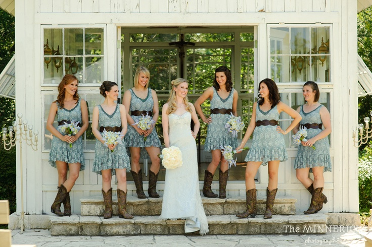 blue lace wedding country bridesmaids cowboy boots, love these dresses