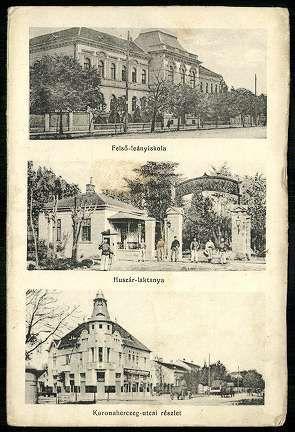 Miskolc Felső-leányiskola; Huszár-laktanya; Koronaherczeg-utcai részlet. | Képeslapok | Hungaricana