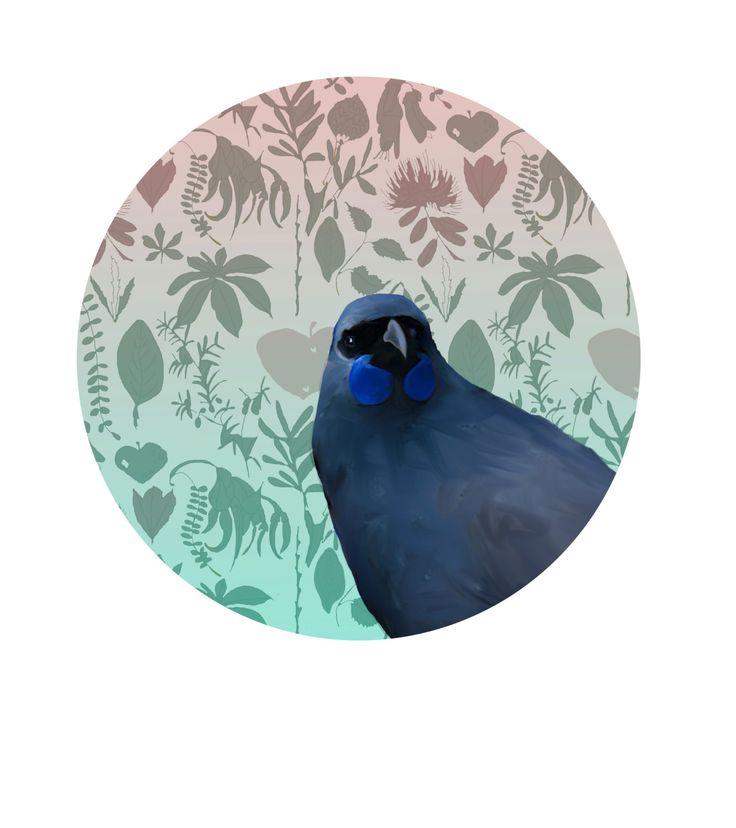 NZ Kokako bird Wall Decal by KatrinaWardNZ on Etsy