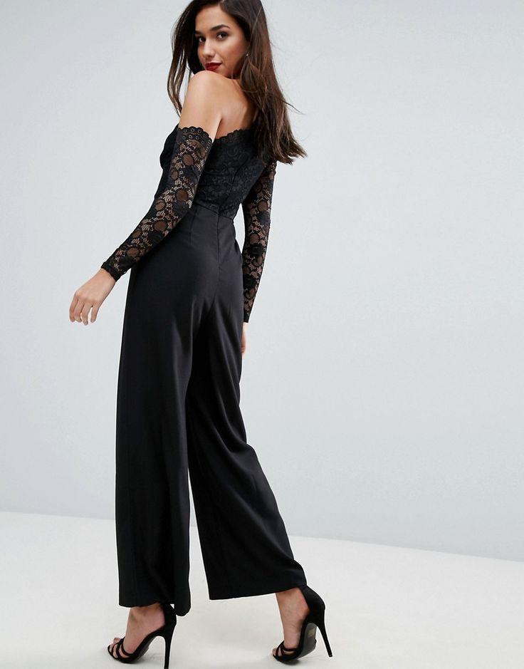 ASOS Asymmetric Lace Occasion Jumpsuit - Black