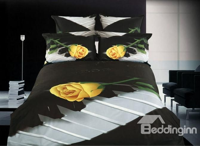 elegant whole cotton yellow tulip and piano printing 4 piece bedding sets