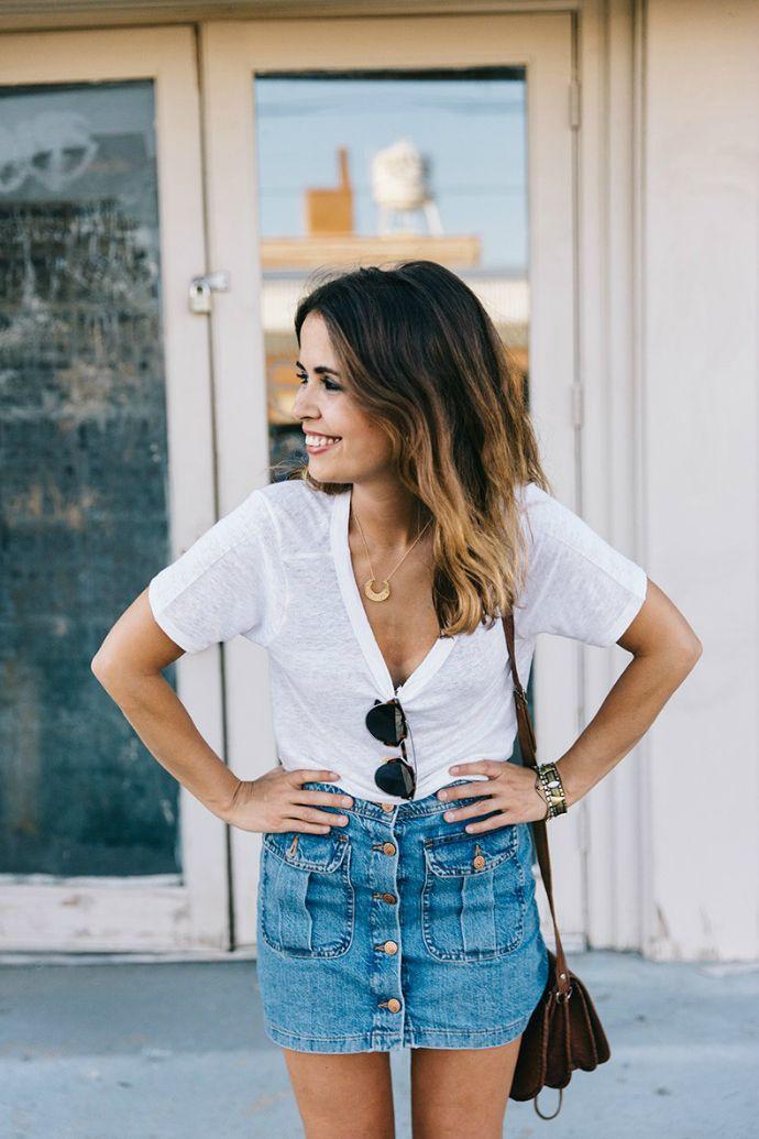falda vaquera tendencia trend personal shopper mallorca blog zapatos falda botones
