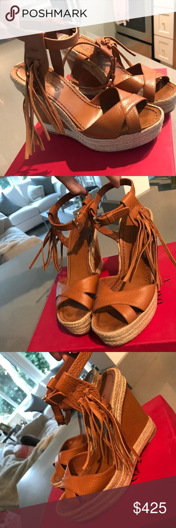 VALENTINO WEDGES Leather Valentino wedge. Super comfortable. Worn once. Adjustable ankle buckle Valentino Shoes Wedges