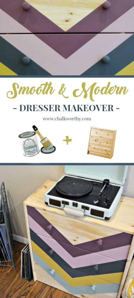 *Easy DIY!* Transform a plain unfinished dresser into a colorful midcentury-inspired record player storage!  The graphic stripes were painted with @ChalkWorthy!