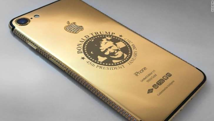 Goldgenie is selling gold-plated iPhones featuring Donald Trump's face. NOTE: In your face Hillary.