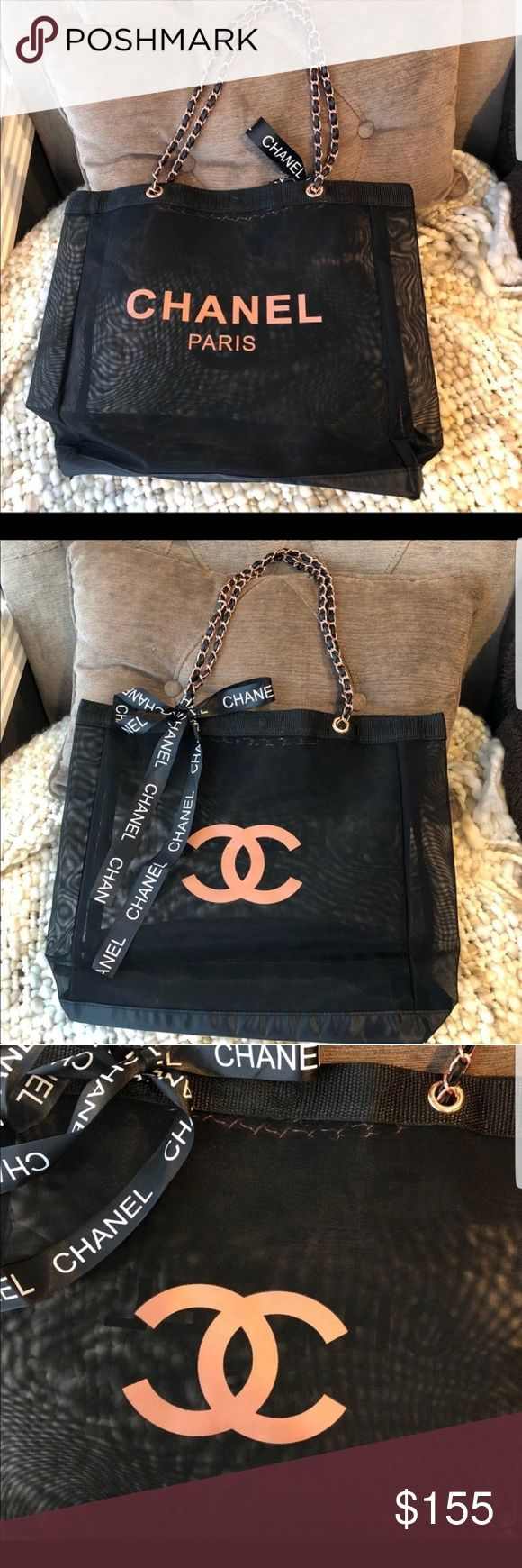 "Authentic CHANEL VIP Gift Black Mesh Tote Bag Brand New from winter 2017 CHANEL PRECISION Beauty Counter It has the CHANEL PARIS print in the front and the CC Logo on the back side Leather handle with Rose Gold Chain Magnetic closure on the top Measures L17""X H14""XW5""  It is made by Chanel to their VIP guests as a gift when a certain amount is spent  There is no way to buy it in the store A gift bag does not come with the identification card or dust bag, since these accessories only come…"