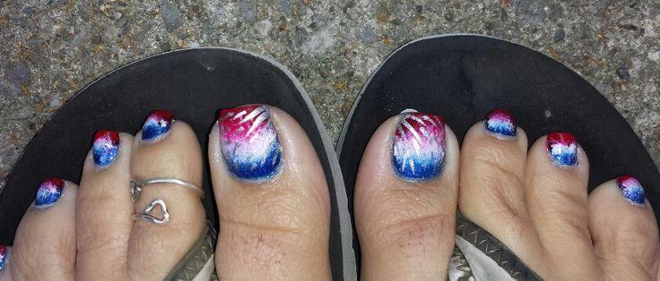 4th Of July Toe Nail Art