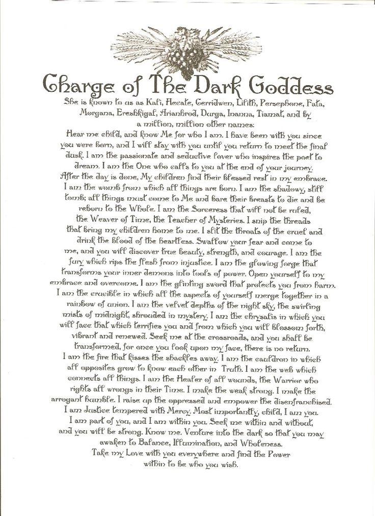 Charge of the dark goddess