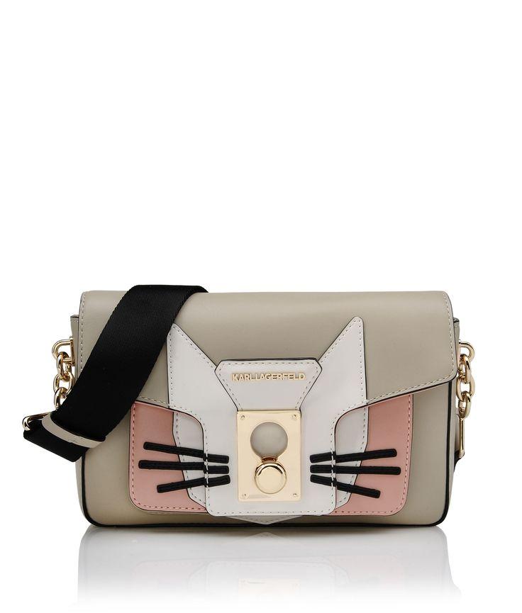 KARL LAGERFELD - an innovative designer who makes Nerd Chic stunning K/PIN CLOSURE SHOULDERBAG CAT for Women