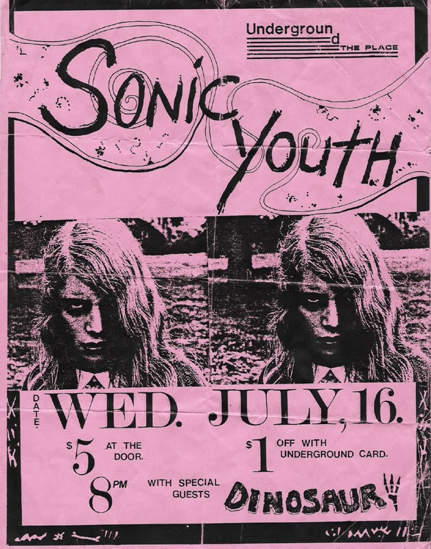 Sonic Youth/Dinosaur Jr gig poster from 1986