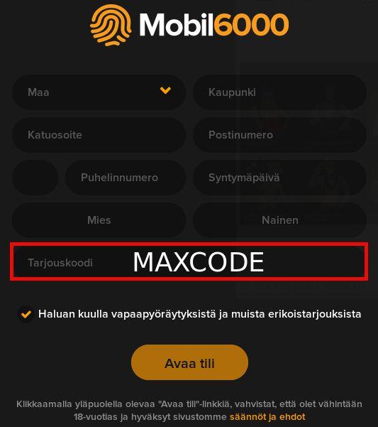 Vieraile sivustollamme http://bonus-koodi.fi niin saat selville, kuinka voit hyödyntää MAXCODE promokoodin!