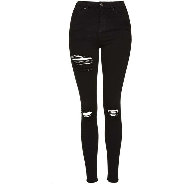 TopShop Moto Super Rip Jamie Jeans (£45) ❤ liked on Polyvore featuring jeans, black, black distressed jeans, black destroyed skinny jeans, ripped skinny jeans, black high waisted jeans and high-waisted skinny jeans
