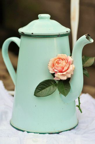 old enamelware is great to use for centerpieces...