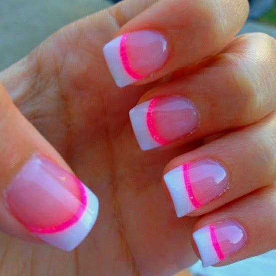 French manicure with a neon pink stripe under the white tip - cool summer nail art. Description from pinterest.com. I searched for this on bing.com/images