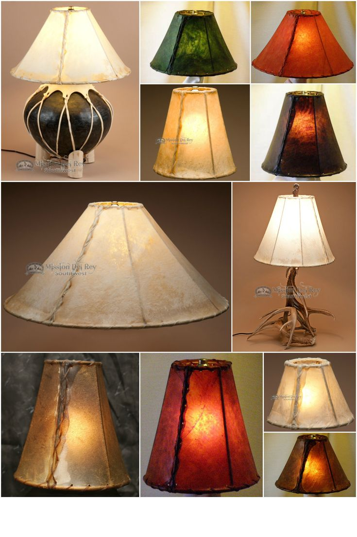 Southwestern lamp shades are the easiest way to add authentic southwest, western or rustic style to your home decor. Enhance the look of any rustic lamp or chandelier, antler lamp or wrought iron lamp with the natural beauty of a rawhide lamp shade. Southwestern lamp shades will add the perfect rustic touch to your home decor.  See our entire collection at http://www.missiondelrey.com/rawhide-lamp-shades-painted-leather-shades/