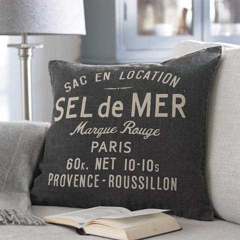 Charcoal Linen Script Cushion