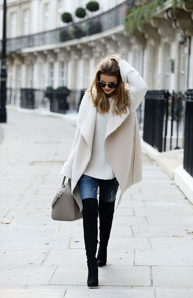 Pinterest: eighthhorcruxx. London Look #2. Cream wool sweater, blue jeans, black thigh high boots and coat.
