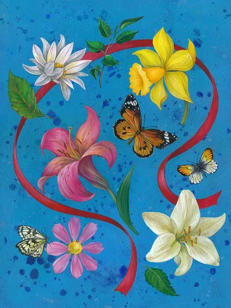 """Acrylmalerei - Druck """"Blumen, rote Schleife"""" - ein Designerstück von margowolff bei DaWanda"""
