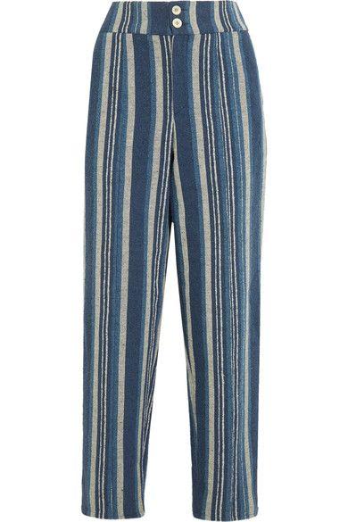 Chloé - Striped Cotton-blend Straight-leg Pants - Blue - FR40