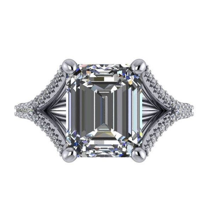 3.40 Ct Emerald Cut Diamond Engagement Ring 14k Hallmarked White Gold Size 6 7 #Caratforever #SolitairewithAccents